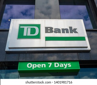 New York, NY, USA - May 17, 2019: Exterior of TD Bank branch building. TD Bank, N.A., is a U.S. national bank and subsidiary of the Canadian multinational Toronto-Dominion Bank.