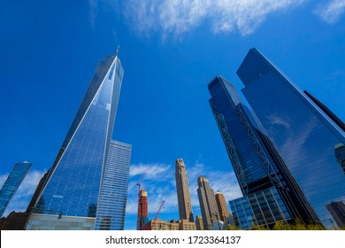 New York, NY, USA - May 2, 2020: View  of World Trade Center complex at Lower Manhattan.