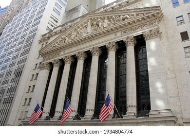 New York, NY, USA - May 10, 2012: Colonnade of the portico of New York Stock Exchange facing Broad Street