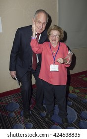 New York, NY USA - May 22, 2016: Ronald Lauder President of World Jewish Congress & Dr Ruth Westheimer attend Jerusalem Post COnference 2016 at Marriott Marquis Times Square