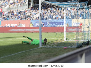 New York, NY USA - May 29, 2016: David Villa (7) not pictured of NYC FC scored goal during MLS match against Orlando City SC on Yankee stadium