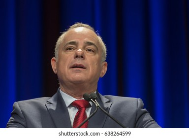 New York, NY USA - May 7, 2017: Israel Minister of National Infrastructure, Energy and Water Resources Yuval Steinitz speaks at 6th Annual Jerusalem Post conference in New York