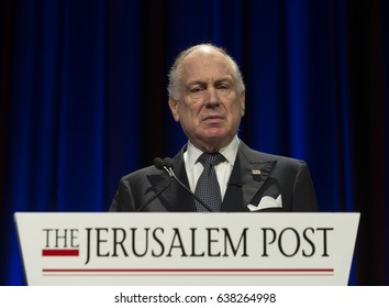 New York, NY USA - May 7, 2017: President of World Jewish Congress Ronald Lauder speaks at 6th Annual Jerusalem Post conference in New York