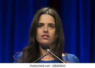 New York, NY USA - May 7, 2017: Israel Minister of Justice Ayelet Shaked speaks at 6th Annual Jerusalem Post conference in New York
