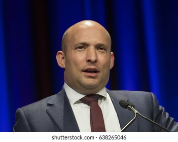 New York, NY USA - May 7, 2017: Israel Education and Diaspora Affairs Minister Naftali Bennett speaks at 6th Annual Jerusalem Post conference in New York