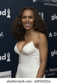 New York, NY USA - May 6, 2017: Janet Mock wearing dress by Christian Siriano attends 28th Annual GLAAD media awards at Hilton Midtown hotel in New York