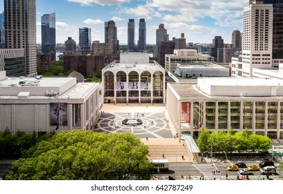 New York, NY USA - May 14, 2017. Panorama view of Lincoln Center Opera House