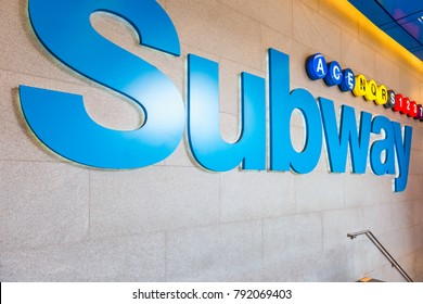 New York, NY, USA - May 24, 2014: Subway entrance to various subway lines in Manhattan, New York City, USA.