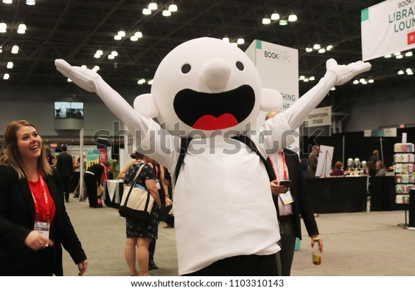 New York, NY / USA; May 31, 2018; A mascot poses at the BookExpo 2018 in the Javits Convention Center in New York City.