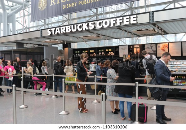 New York, NY / USA; May 31, 2018; Starbucks Coffee in the Javits Convention Center in New York City.