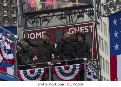 New York, NY USA - November 27, 2014: Matt Sanchez, Zac Barnett, James Adam Shelley and Dave Rublin of American Authors ride float at 88th Annual Macy's Thanksgiving Day Parade along Columbus Circle