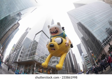 New York, NY USA - November 27, 2014: Adventure time with Finn & Jake is flown at the 88th Annual Macy's Thanksgiving Day Parade along 6th Avenue