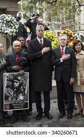 New York, NY USA - November 11, 2015: Bill de Blasio, Ray Mabus attend ceremony on Veteran's Day prior parade on Madison Square park