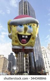 New York, NY USA - November 26, 2015: Giant Spongebob Squarepants balloon flown at the 89th Annual Macy's Thanksgiving Day Parade on Columbus Circle