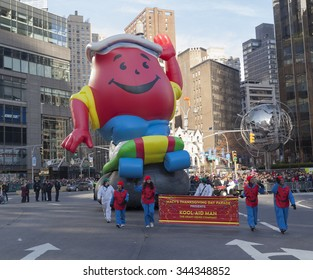New York, NY USA - November 26, 2015: Giant Kool-Aid Man balloon flown at the 89th Annual Macy's Thanksgiving Day Parade on Columbus Circle