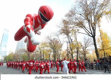 New York, NY USA - November 26, 2015: The Power rangers balloon making its way across Central Park South at the 89th Annual Macy's Thanksgiving Day Parade.