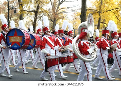 New York, NY USA - November 26, 2015: A marching band play down Central Park South at the 89th Annual Macy's Thanksgiving Day Parade.