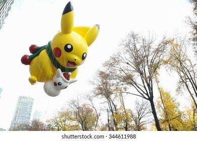 New York, NY USA - November 26, 2015: The Pikachu balloon at the 89th Annual Macy's Thanksgiving Day Parade.
