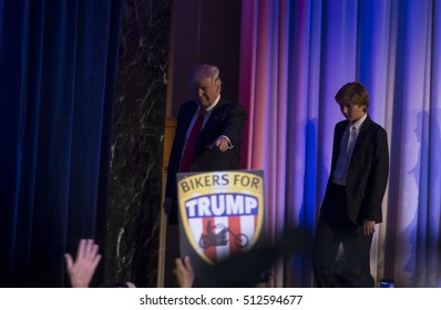 New York, NY USA - November 9, 2016: Donald Trump elected 45th President of USA enters on stage during victory party at Hilton hotel New York