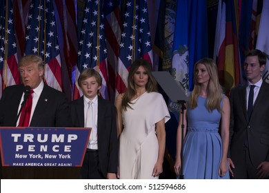 New York, NY USA - November 9, 2016: Donald Trump elected 45th President of USA speaks on stage as his family listens during victory party at Hilton hotel New York