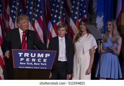 New York, NY USA - November 9, 2016: Donald Trump elected 45th President of USA speaks on stage during victory party at Hilton hotel New York