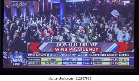 New York, NY USA - November 8, 2916: Donald Trump elected 45th President of USA as seen on Fox News channel on display on stage during victory party at Hilton hotel New York