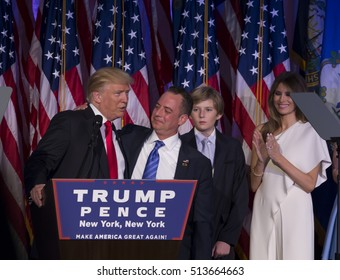 New York, NY USA - November 8, 2916: Donald Trump elected 45th President of USA & RNC chairman Reince Priebus on stage at victory party at Hilton hotel New York