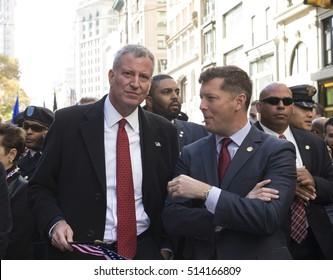 New York, NY USA - November 11, 2016: Mayor Bill De Blasio attends Veterans Day parade on New York 5th Avenue