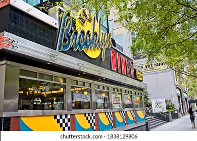 New York, NY, USA - Oct 21, 2020: A diner with a bright colored exterior located in midtown Manhattan