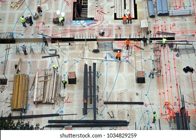 New York, NY / USA - October 19, 2016: Aerial view of men and materials during construction of a new high-rise apartment building in midtown Manhattan, New York City.