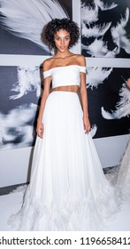 New York, NY, USA - October 6, 2018: Model shows up dresses for Atelier Pronovians 2019 Presentation during New York Bridal Week at Studio 525, Manhattan.