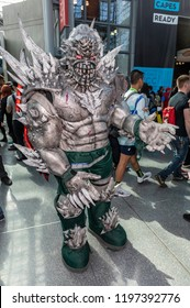New York, NY, USA - October 5, 2018: Comic Con attendee poses in the costumes during Comic Con 2018 at The Jacob K. Javits Convention Center in New York City.