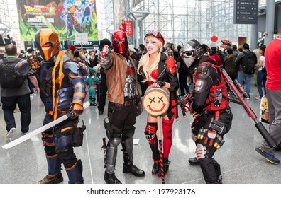 New York, NY, USA - October 5, 2018: Comic Con attendees pose in the costumes during Comic Con 2018 at The Jacob K. Javits Convention Center in New York City.
