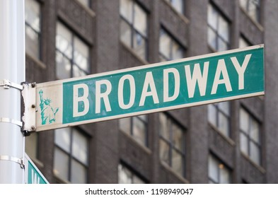 NEW YORK, NY, USA - OCTOBER 2018: A street sign at the intersection of Broadway and 40th street in New York City