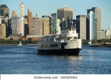 New York, NY / USA - October 12, 2018: Miss New York. The boat of Statue Cruises