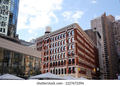 New York, NY, USA - October 3, 2018: The Astor Place Building at 444 Lafayette Street was built in 1876 and is a cast iron building designed by Griffith Thomas.