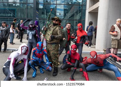 New York, NY, USA - October 4, 2019: Comic Con attendees pose in the costumes during Comic Con 2019 at The Jacob K. Javits Convention Center in New York City.