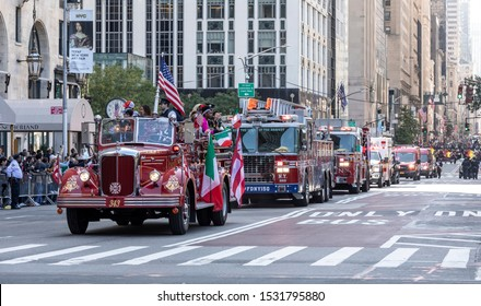 New York, NY, USA - October 14, 2019: Fire Department trucks moves along Fifth Avenue during 75th Annual Columbus Day Parade, Manhattan.
