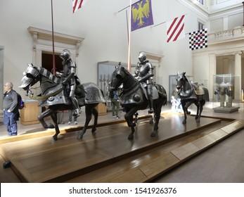 New York, NY, USA - October 5, 2019: Seventeenth-century armor display at Metropolitan Museum of Art the Met in New York.