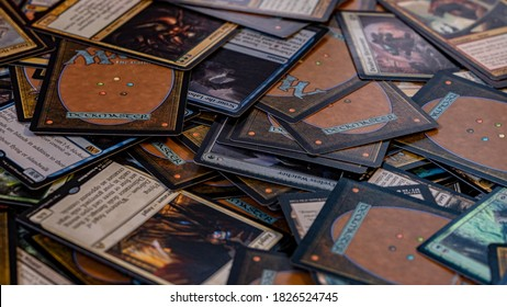 New York, NY / USA - October 3 2020: Pile of Magic the Gathering (MTG) trading cards
