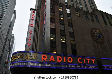 New York, NY, USA - October 22, 2019: Radio City Music Hall with marquee sign showing 2019-20 Rockettes dates.