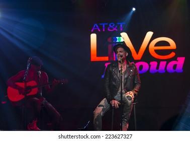 New York, NY USA - October 13, 2014: Adam Lambert performs onstage at AT&T Live Proud presentation at Highline Ballroom