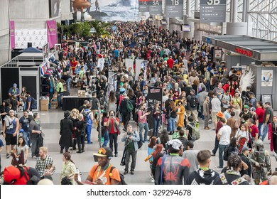 New York, NY, USA - October 9, 2015: General atmosphere on convention floor during Comic Con 2015 at The Jacob K. Javits Convention Center in New York City.