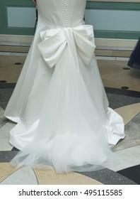 New York, NY USA - October 5, 2016: Model shows off wedding dresses by Zac Posen during New York Bridal week at Laduree