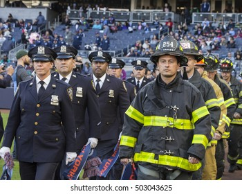 New York, NY USA - October 23, 2016: Members of NYPD and FDNY enter stadium before last regular season MLS game between NYC FC & Columbus Crew SC NYC FC won 4 - 1