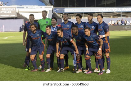 New York, NY USA - October 23, 2016: NYC FC players pose before last regular season MLS game between NYC FC & Columbus Crew SC NYC FC won 4 - 1