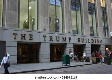 NEW YORK, NY, USA - OCTOBER 17, 2016 - Front view of the Trump Building near Wall Street in New York, one of the many buildings of the 2016 president elected Donald Trump
