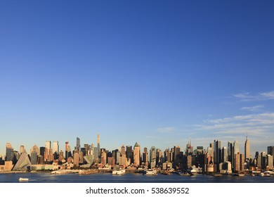 New York, NY, USA - October 7, 2016: Manhattan Skyline: Manhattan Skyline from New Jersey through Hudson River under a clear sky