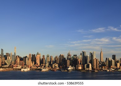 New York, NY, USA - October 7, 2016: Manhattan Skyline: Manhattan Skyline from New Jersey through Hudson River under a clear sky