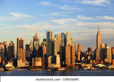 New York, NY, USA - October 7, 2016: Manhattan Skyline: Manhattan Skyline from New Jersey through Hudson River in twilight